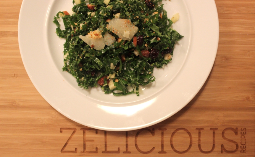Kale Salad with Togarashi, Apple, Sweet Nuts, and Cranberries