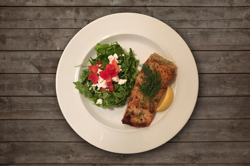 Salmon with Arugula salad