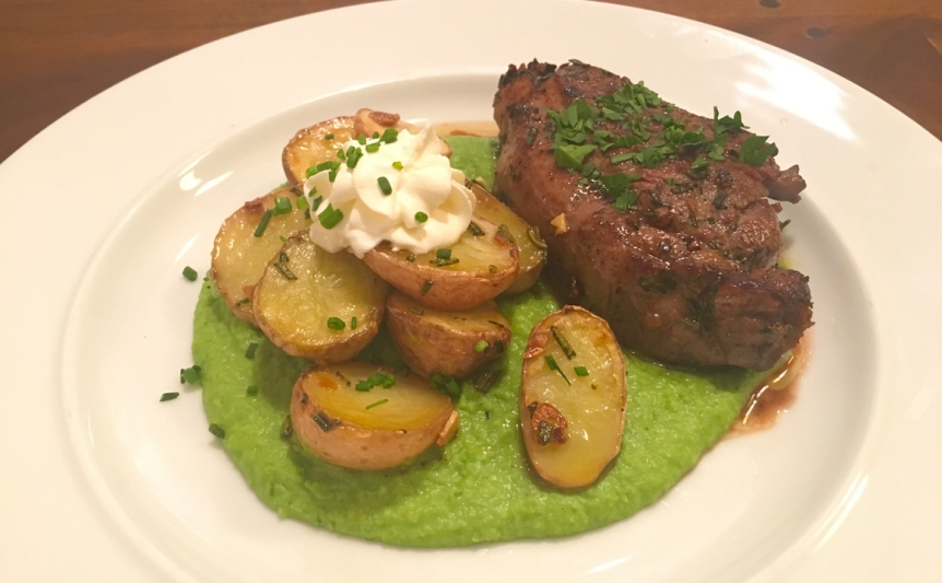 Lamb with Pea Puree and Roasted Potatoes
