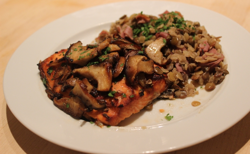 Broiled Salmon with wild mushrooms and lentils