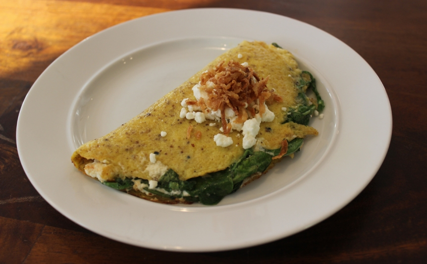 omelet with Arugula and goat cheese
